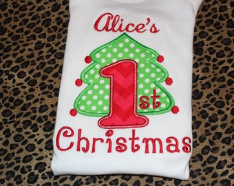 Baby's First Christmas bodysuit- for boy or girl- you pick fabric