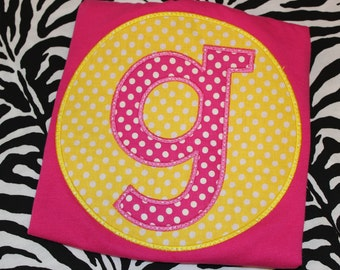Large initial tshirt or baby bodysuit for boy or girl- you pick fabric