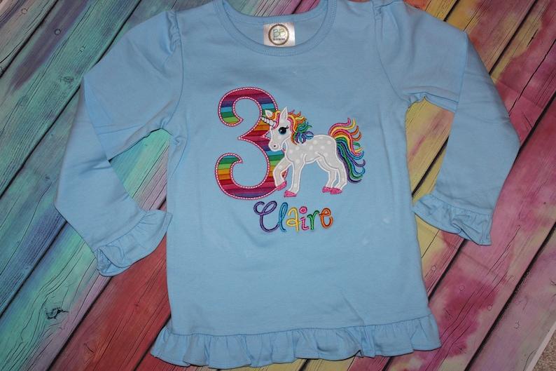 rainbow colors birthday tshirt or ruffle dress Unicorn 6th birthday any number