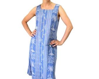 1960s Dress Blue linen Hawaiian Tropical Palm and Bird Print Shift Pocket Summer dress