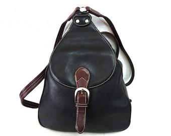 Vintage Bagpack Black Leather with Adjustable Shoulder Straps