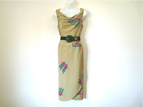 Vintage 1980s Dress Graphic design Cowl Neck Sleev