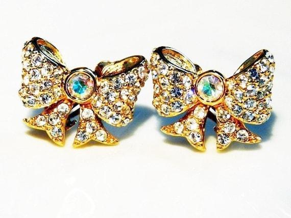 SWAN Earrings Bow Clip on Swarovski Crystal Aurora