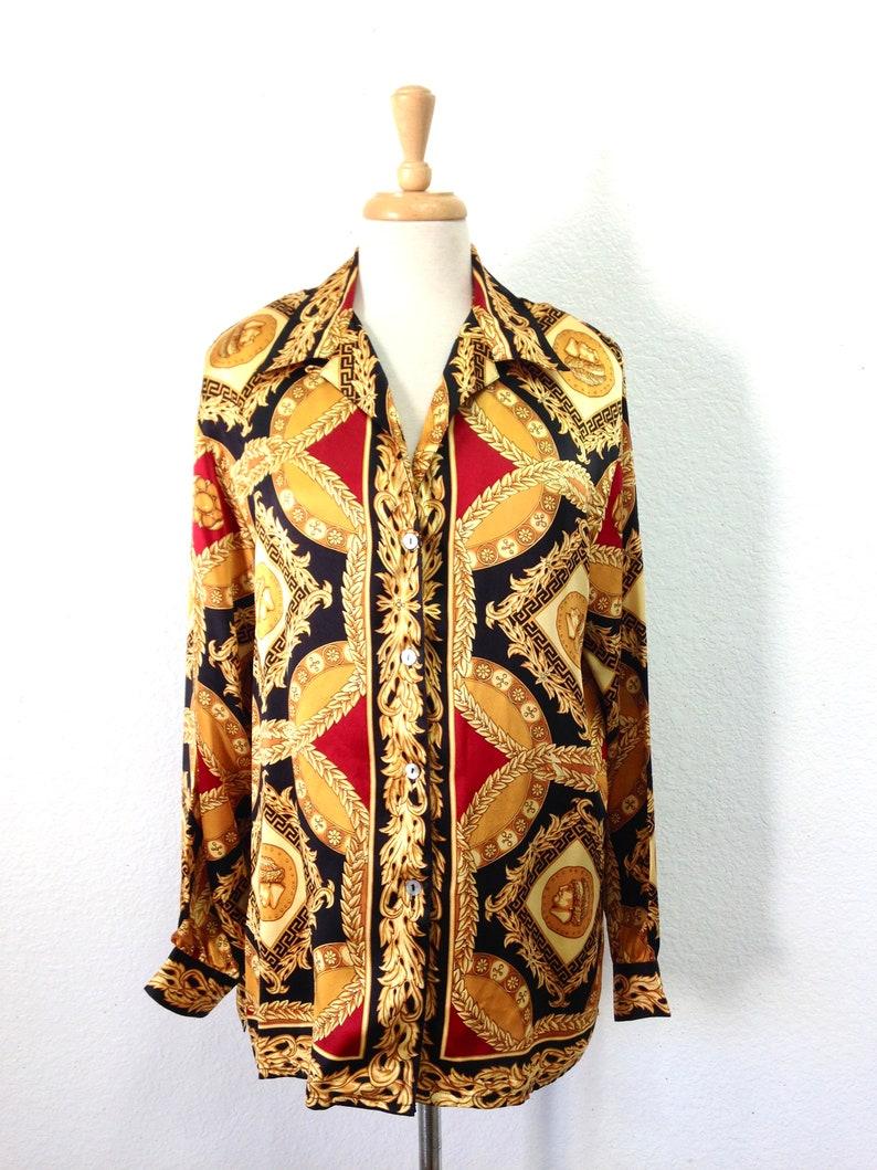 a0818ca5bcf7ef Vintage Gianni Versace Silk Shirt Baroque Design Gold Black | Etsy