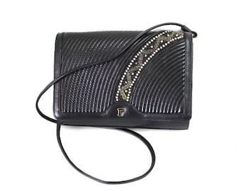 Vintage Bag Black Leather Stitched Beaded Swarovski Crystal Made in Paris Crossbody purse
