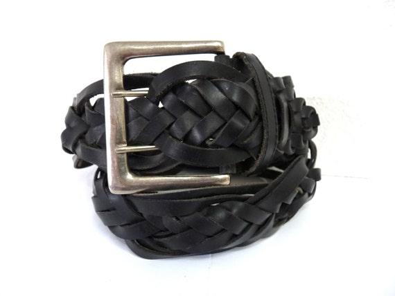 Vintage Black Belt Woven Baided  Leather Belt Wide