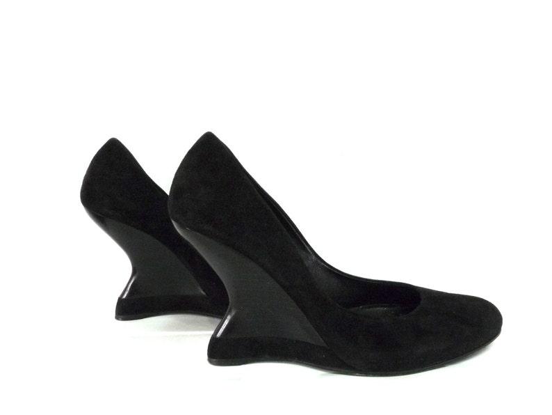 23e31ba28e30 Vintage 1930s Shoes Salvatore Ferragamo Black Suede Wedge Pump