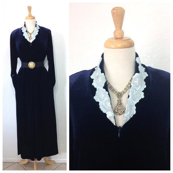 Vintage Diamond Tea Velvet Robe Hostess Gown loung
