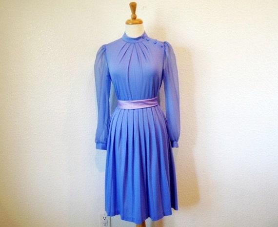 1960s Pastel Purple Dress BOBBY/'S Girl Vintage 60s Chiffon pleated Dress