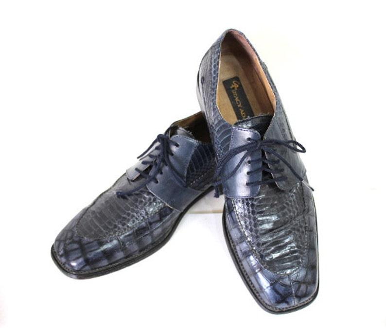 c6f4dfed65c Stacy Adams Men Genuine Snake Shoes Navy Blue Dress Shoes Size