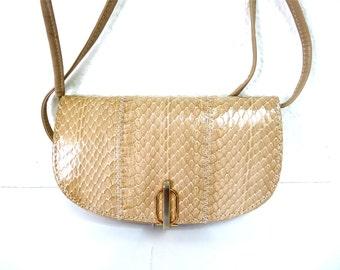 Vintage Purse Snake Pattern Briefcase Braided I. MAGNIN Convertible Handbag Crossbody Messenger Bag