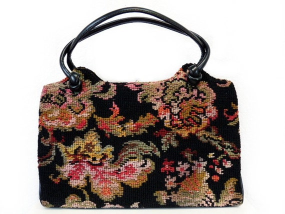 Vintage 50s Needlepoint bag Carpet bag Tapestry Bl