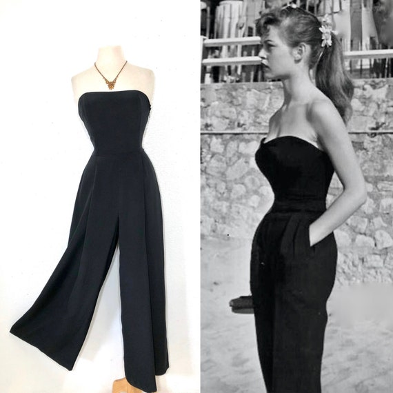 1980s Jumpsuit Strapless Black Silk Bond Body Pala