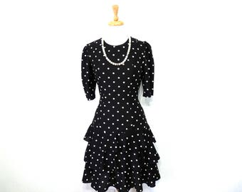 Polka Dot Dress Black Selly Lou Tiered Ruffled Party Dress