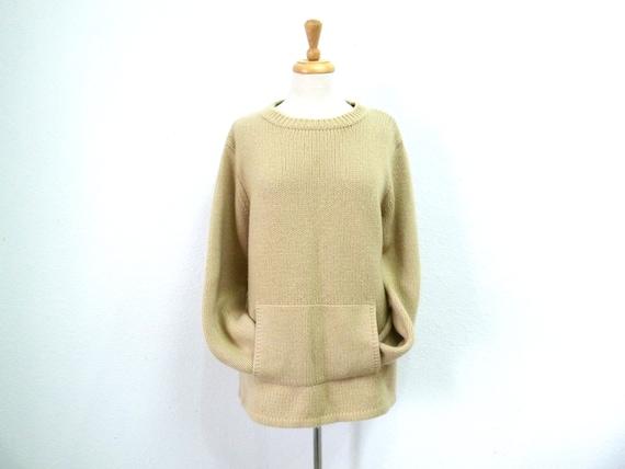 Cashmere Sweater Hand knit Beige Lands' End Pocket Women Large