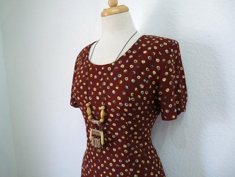Vintage 1940s Dress Polka Dot Brown Rayon 40s Day Dress Medium