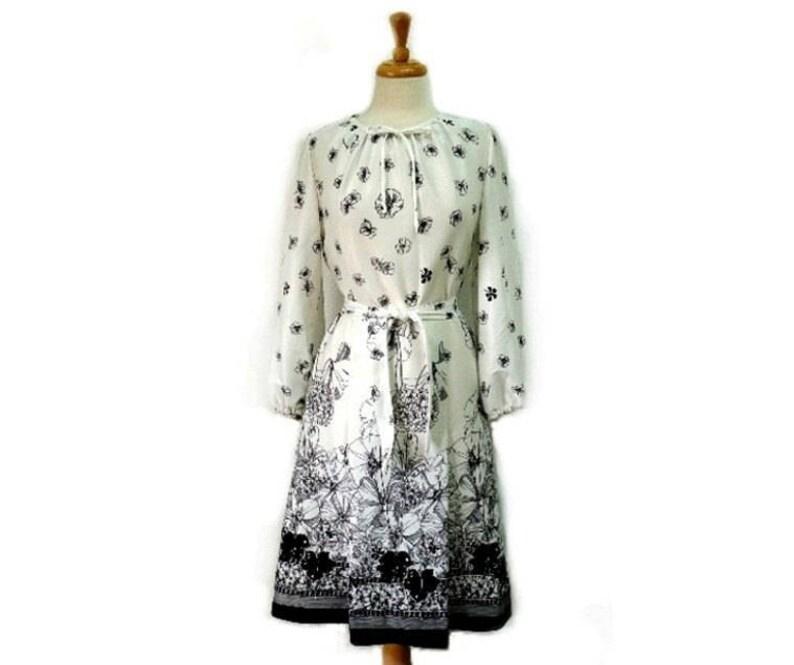 Vintage 1980s dress Floral Border Print Sherri Lynn Party Summer dress Size 10