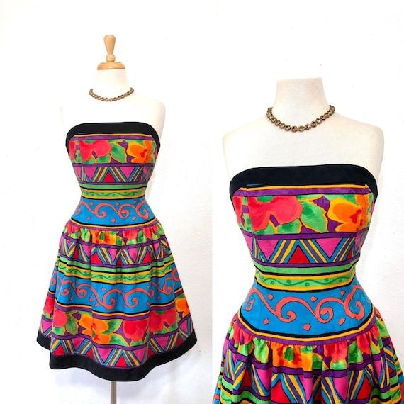 1980s  Strapless Dress Geometric Floral Print A.J.