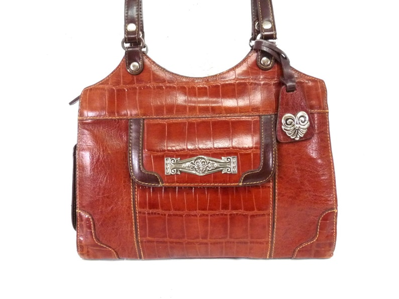 de6d3b41f322 Vintage bag Brown Leather Brighton design MC Silver heart
