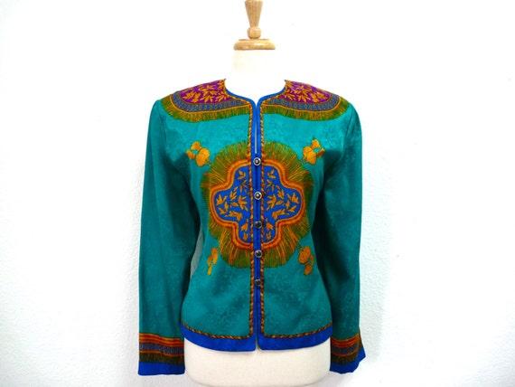 b4fef727983b8 80s Silk Blouse Golden Tassel print Turquoise blue by Adrianna