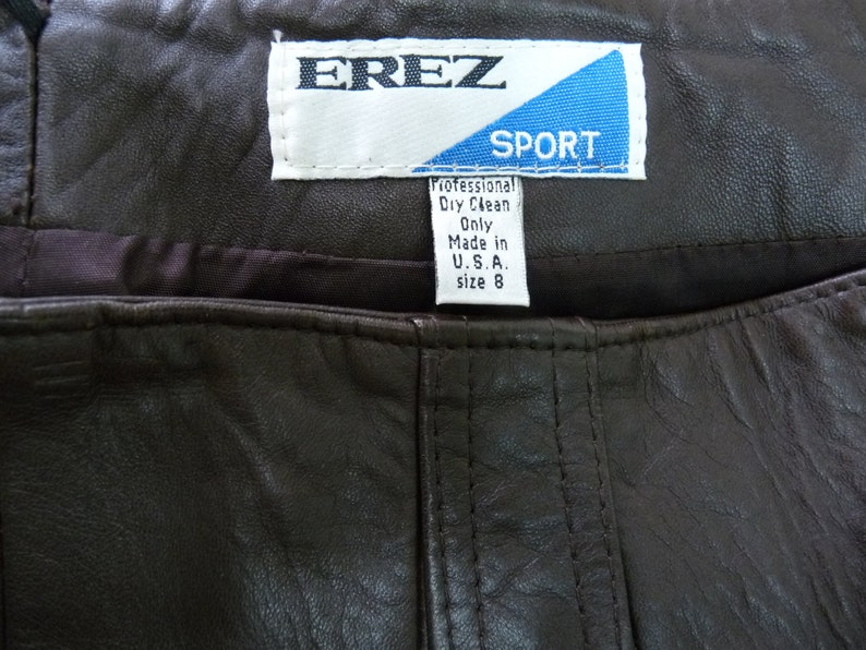 Leather Skirt Brown Pocket EREZ Made in USA Women Size 8