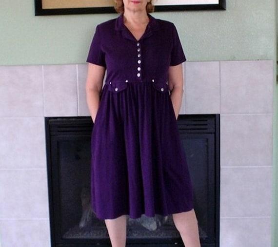 Vintage 1960s dress Cotton Purple Pleated Skirt Po