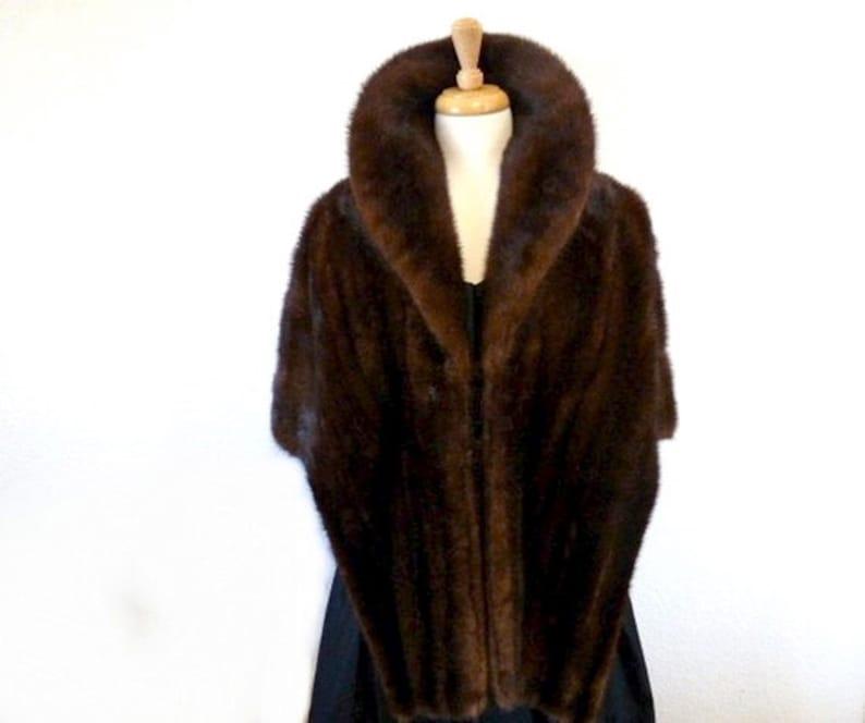 Vintage 1950s Mink Fur Coat Brown mink fur cape shrug wrap  Hebblethwaite Hidden  Wedding bridal Fur