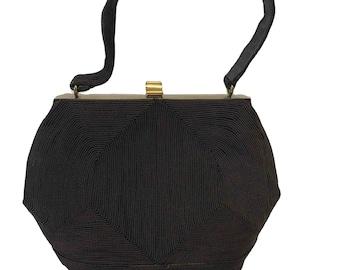 Vintage 1940s purse Genuine Corde Bag AB Goldtone Fastener Formal Evening Chocolate Brown
