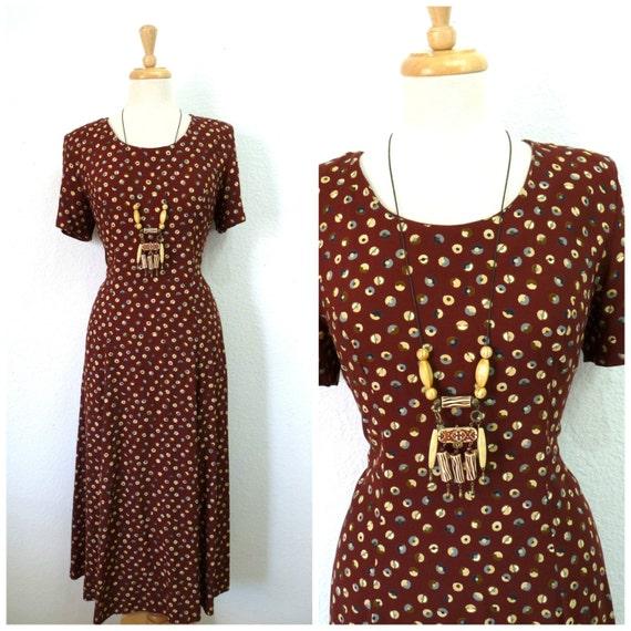 Vintage 1940s Dress Polka Dot Brown Rayon 40s Day