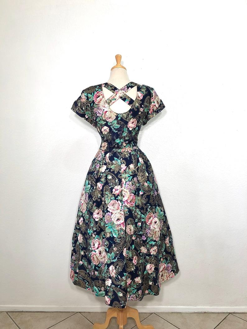 Vintage 1980s dress Floral print Lanz design Roses Garden Summer Dress Size Large