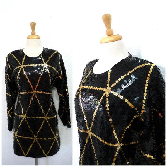 1980's Tunic Black and Gold Sequin Spider Web / Mi