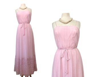 1960s dress Miss Elliette Pastel Pink Chiffon Maxi Sheer Pleated Floral Scallop Lace Evening Wedding Party Maxi Size 12 Medium