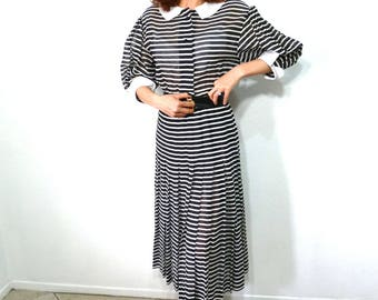 Vintage 1960s dress - Black and white Striped Sheer Cotton Jane Justin for Don Sophisticates Dress Size 6