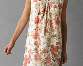 Linen Dress Coral Pink Floral Print Summer dress S/M