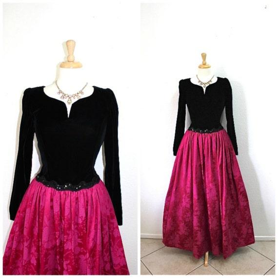 Vintage 80s Dress Black Velvet Fuchsia Brocade ful