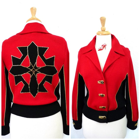Vintage Knit Jacket St. John Collection Red and Bl