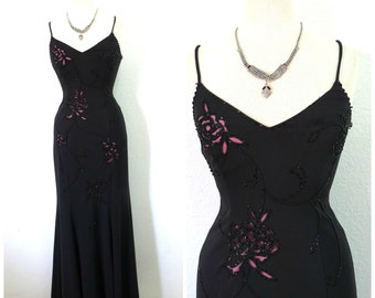 Fabulous 80s dress Black Spaghetti straps Sweetheart Beaded cut-out Maxi Party Evening  Size Small