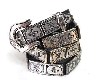 Brighton Belt Silver Links Engraved Studded Genuine Leather Buckle Belt