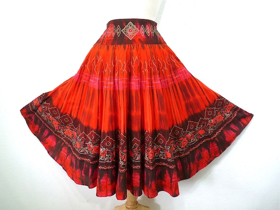 Vintage 1950s Mexican Full Circle Skirt Cotton Han
