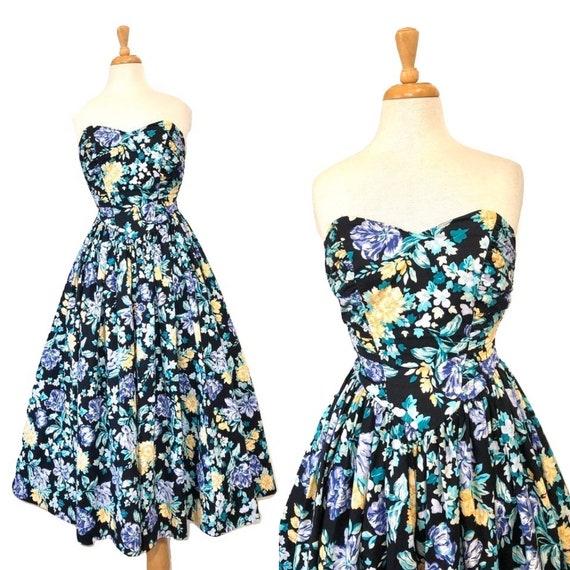 Vintage 1980s Dress Laura Ashley Rose Floral Print