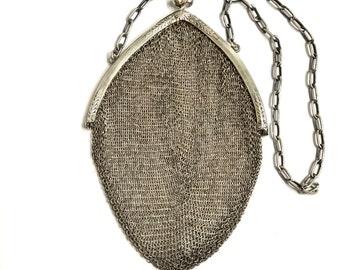1800s Antique Silver Mesh Chatelaine Purse Alpacca Engraved German Chain Kiss Clasp Purse Medium Handbag