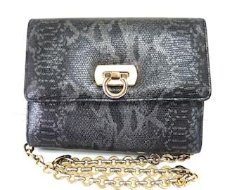 Vintage Authentic Snake Leather Bag handbag Gold Chain Shoulder Purse
