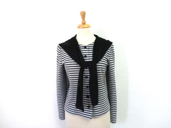 Vintage Striped  Blouse Black White Silver Long Sl