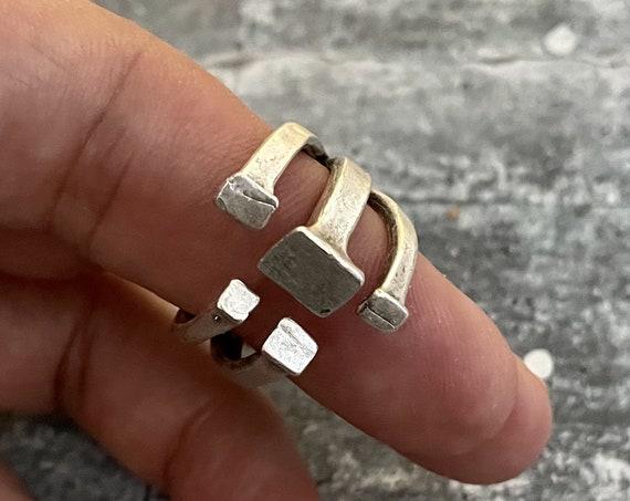 4369- Adjustable Ring ,Vintage Bohemian Rings, Ethnic  Rings, Gypsy Rings , Hippie Rings,  Brass Rings, Retro Rings, James Avery Style