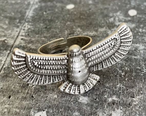 4371- Adjustable Brass Vintage Bohemian Style Ring. Antique Silver Plated Retro Boho Ring.