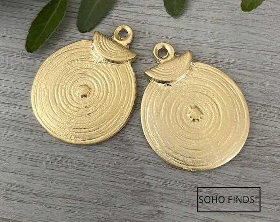 1008- Matte Gold Plated Earring Parts - Bohemian Brass Earring Findings. 2PCS.