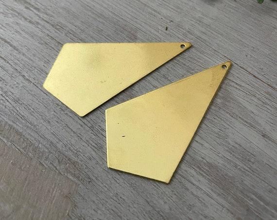 B016 - Raw Brass earring Findings -2 PCS