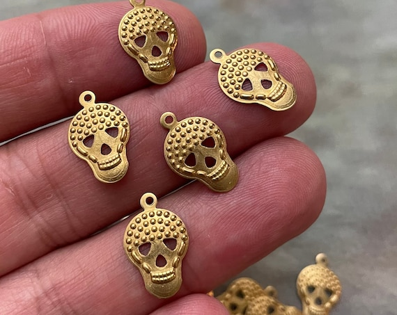 35 PCS Raw Brass Skull Charms, Raw Brass Skull, Mini Skulls, Brass Earring Findings. 1102