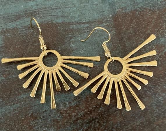 5572 - Boho art earrings,huggie hoop earrings,sailor moon earrings,Raw brass flower charm earrings findings