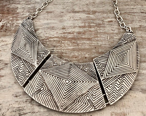1029 - Bohemian necklace boho necklace coin necklace silver necklace ethnic jewelry tribal jewelry, body jewelry, choker necklace